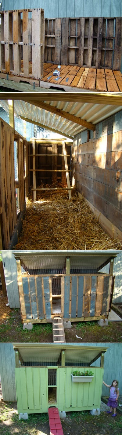 Chicken coop made from pallets alternative green world for Pallet chicken coup