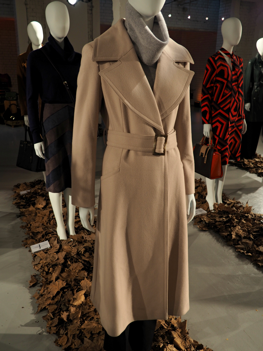 Autumn/Winter long camel belted coat and turtle neck grey jumper by Jasper Conran for Debenhams