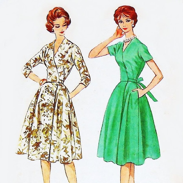 1950s wrap dress pattern Just Peachy, Darling