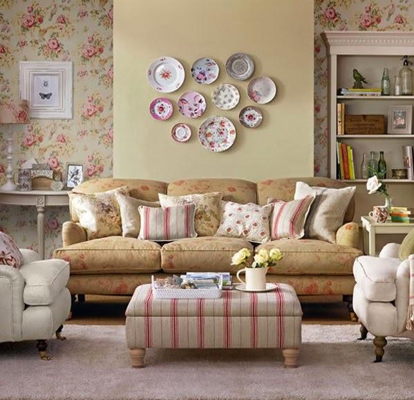 Salon avec papier peint floral d coration salon d cor de salon - Salon avec papier peint ...