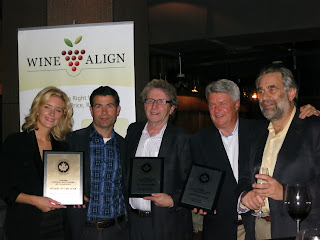 Left to right: Jessica Bryans (Joey Restaurants), Bryan McCaw (WineAlign), David Lawrason (WineAlign), Ingo Grady (Mission Hill), Steve Thurlow (WineAlign)