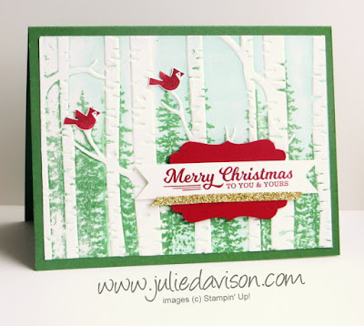 TUTORIAL for  Stampin' Up! Woodland Embossing Folder with Wonderland Trees - Forest Illusion #stampinup 2015 Holiday Catalog www.juliedavison.com
