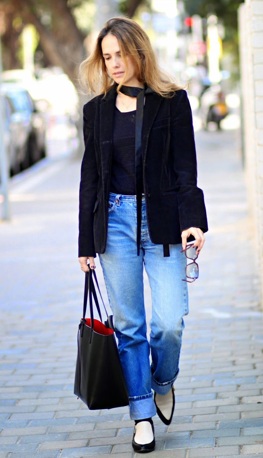 silkscarf, ootd, blazer, lookoftheday, ss15, streetstyle, alexachung, fashionblog, בלוגאופנה, אופנה, אלקסהצ'אנג