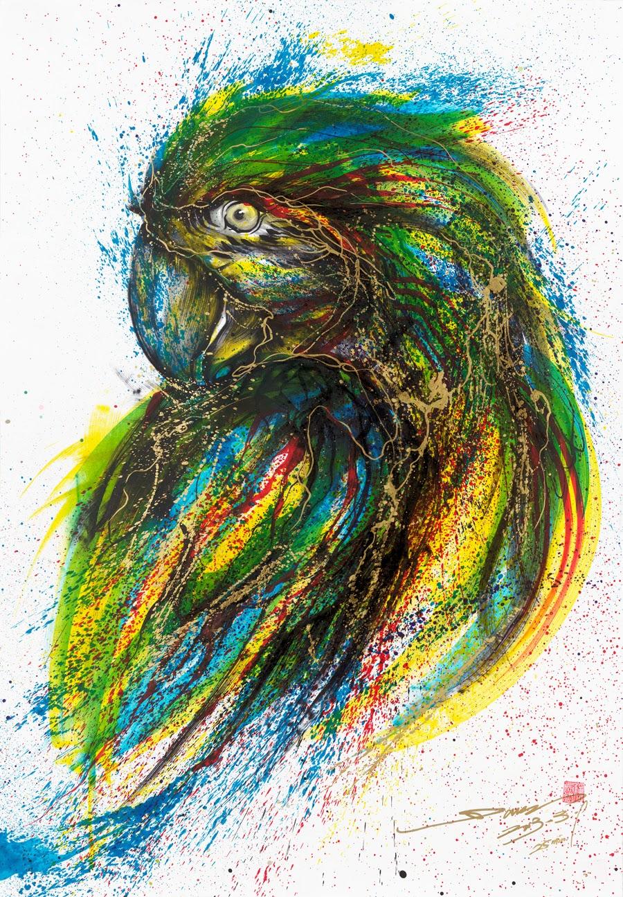 11-Parrot-1-Hua-Tunan-huatunan-Melting-&-Running-Ink-Drawings-www-designstack-co