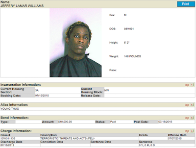 Young Thug Posted $10,000 Bail (Mugshot Included)