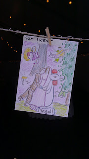Chagall place card for Patricia Stimac, Seattle Wedding Officiant