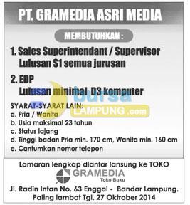 Lowongan Kerja PT. Gramedia Asri Media, Minggu 19 Oktober 2014