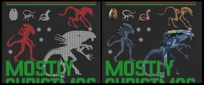 JIMSMASH ! ! !: ALIENS SWEATER: MOSTLY CHRISTMAS