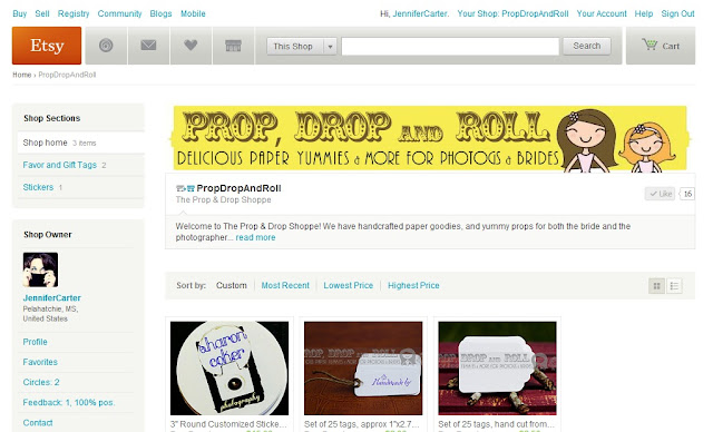 Screenshot of Etsy store Prop Drop and Roll