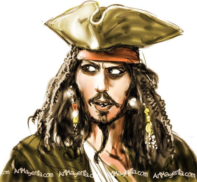 Johnny Depp caricature cartoon. Portrait drawing by caricaturist Artmagenta