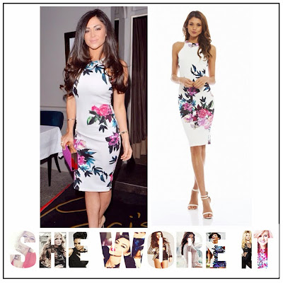 AX Paris, Bodycon, Bright, Casey Batchelor, Cream, Dress, Floral Print, Midi Dress, Multicoloured, Sleeveless, White,