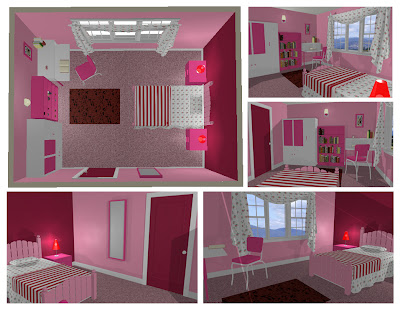 desain kamar tidur remaja cewek pink