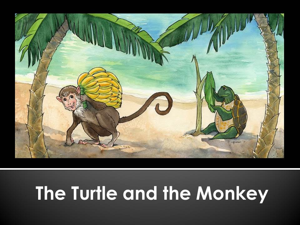 the main idea of monkey and the turtle The turtle and the swans were friends the swans liked the idea  once there lived a monkey in a jamun tree by a river.
