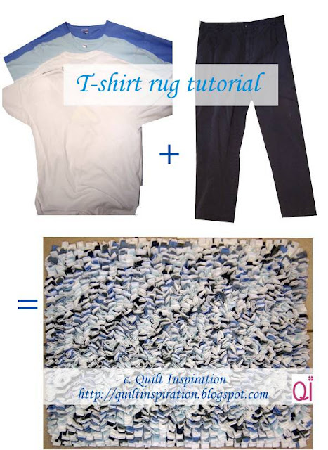 Quilt inspiration waste not want not t shirt rug tutorial for How to make rugs out of old t shirts