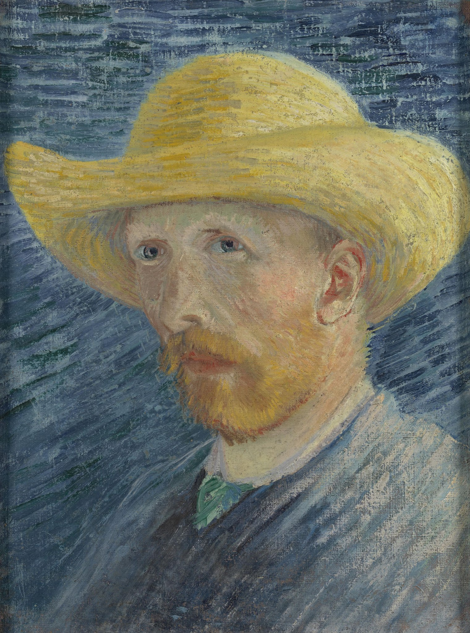 Self-Portrait with Straw Hat (F 61v, JH 1302) by Vincent van Gogh