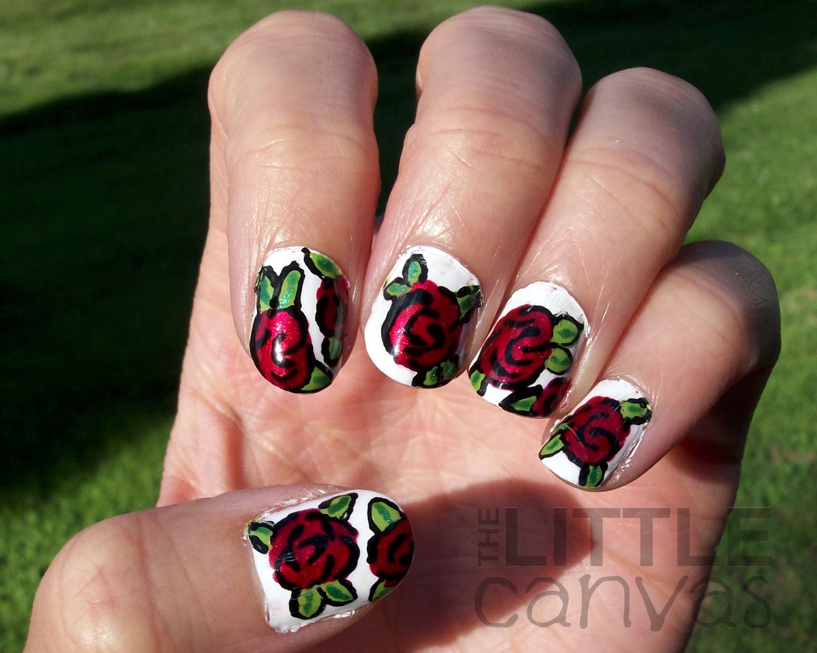 Red Roses Nail Art Tutorial - The Little Canvas
