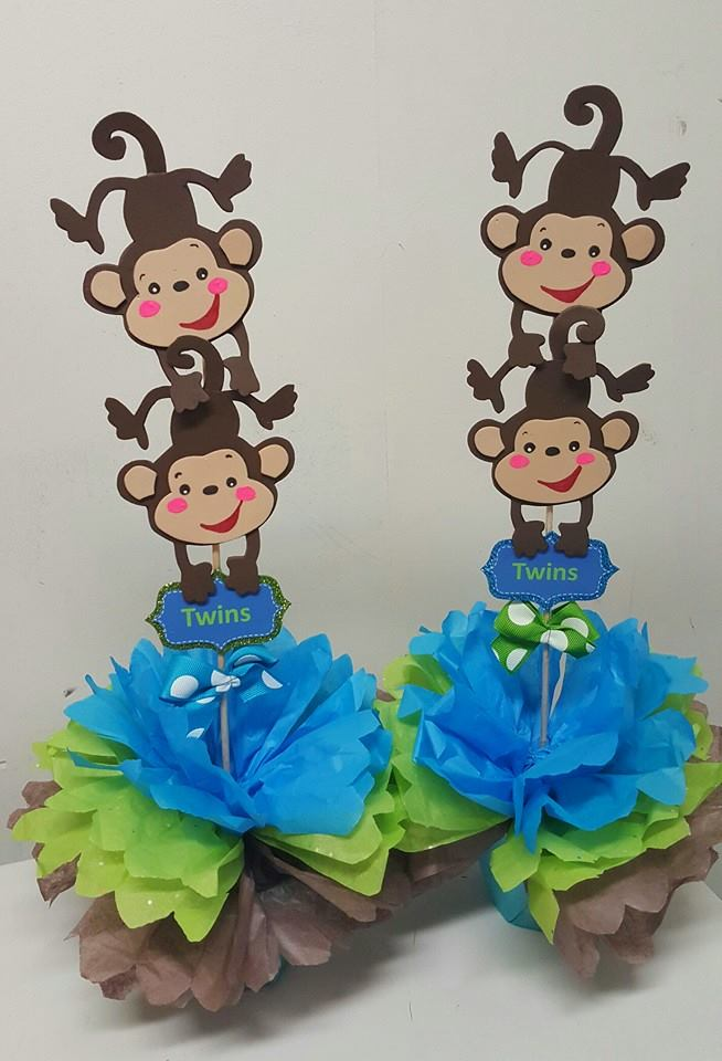 Adriana 39 s creations baby shower theme centerpieces for Monkey decorations