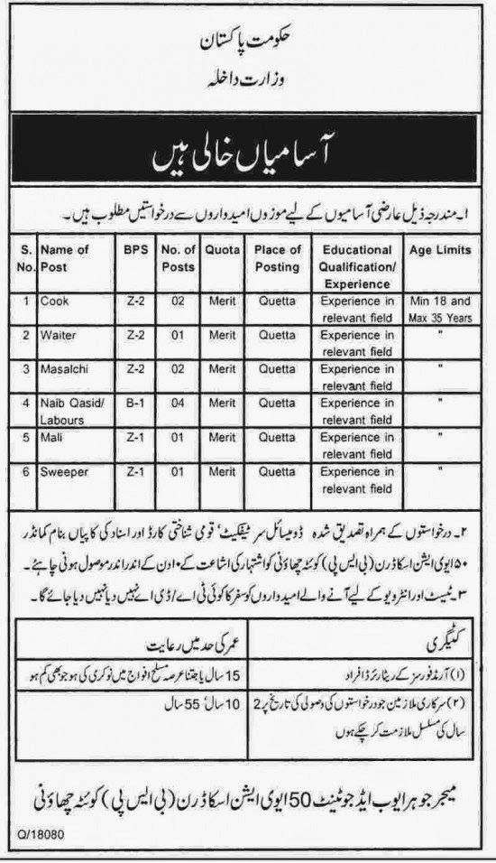 Class Four Jobs in Government of Balochistan, Quetta