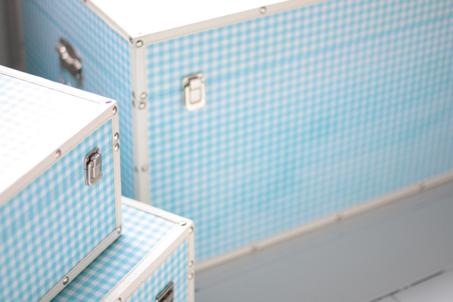 I wanted these light blue gingham storage coffins for my extra clothing (and ...