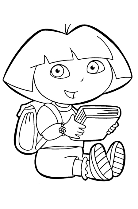 صورة طفل صغير يحمل كتابه وحقيبته على ظهره للتلوين