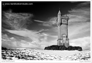 winter Scottish landscape snow black white angus kirriemuir monument boer war memorial