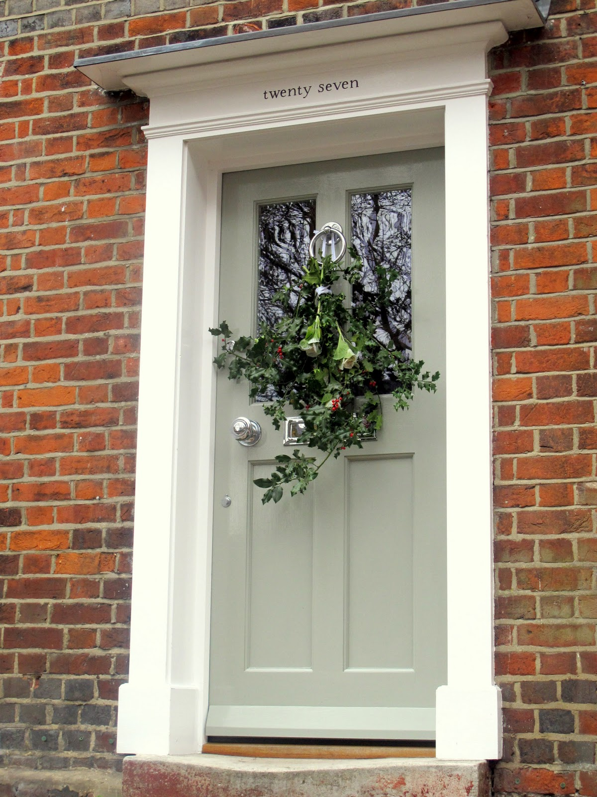 Green Front Door Colors Entrancing Of Brick House with Green Front Door Picture
