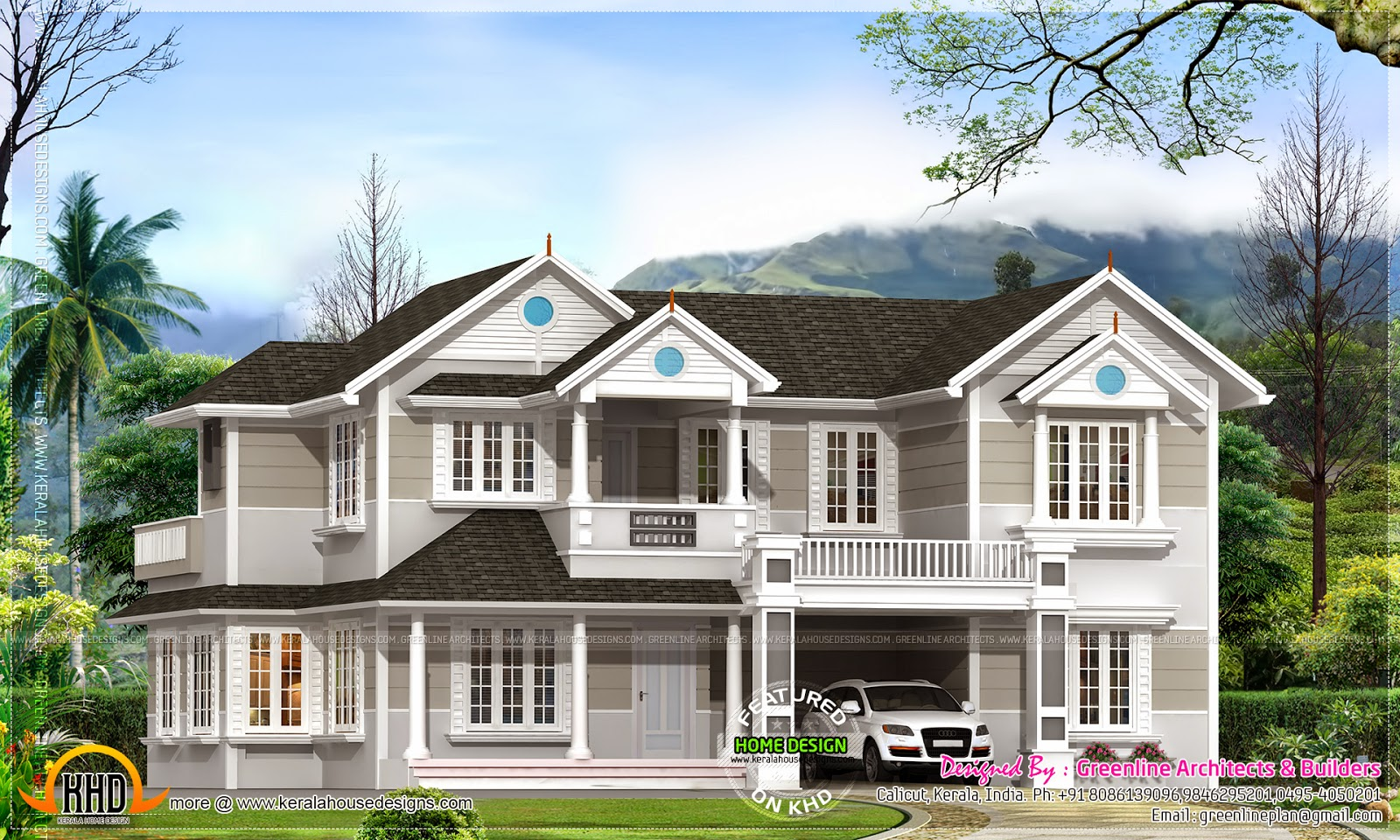 Colonial house plan kerala home design and floor plans for Colonial home designs
