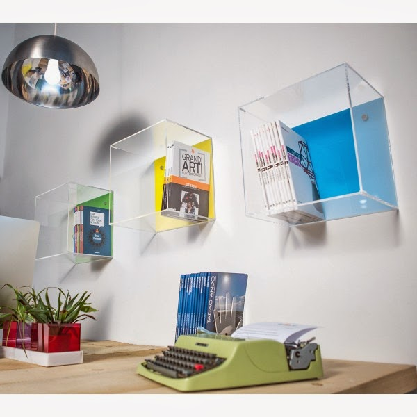 librerie a cubi in plexiglass trasparente