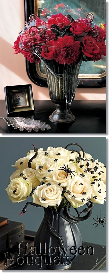 halloween buketter, hallowwen bouquets, bukett spindlar, bouquets spiders, halloween buketter inte orange, halloween bouquets not orange