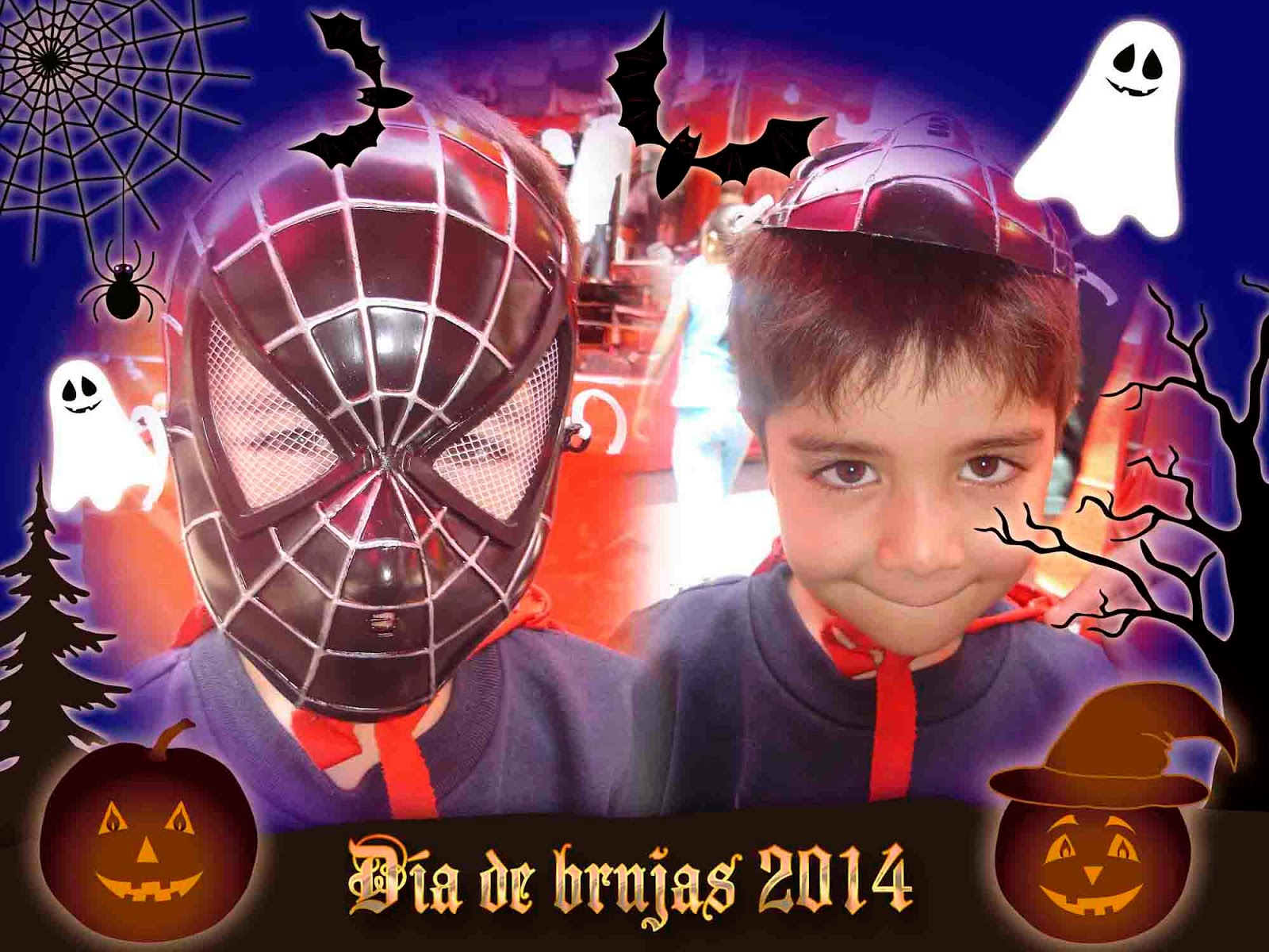 Niño Axel disfrazado con mascara del hombre araña en halloween