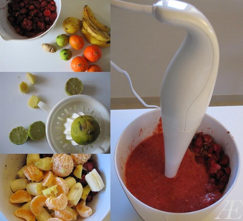 Frosne jordbær til smoothie, banan, madarin, lime, ingefær, pære, stavblender,