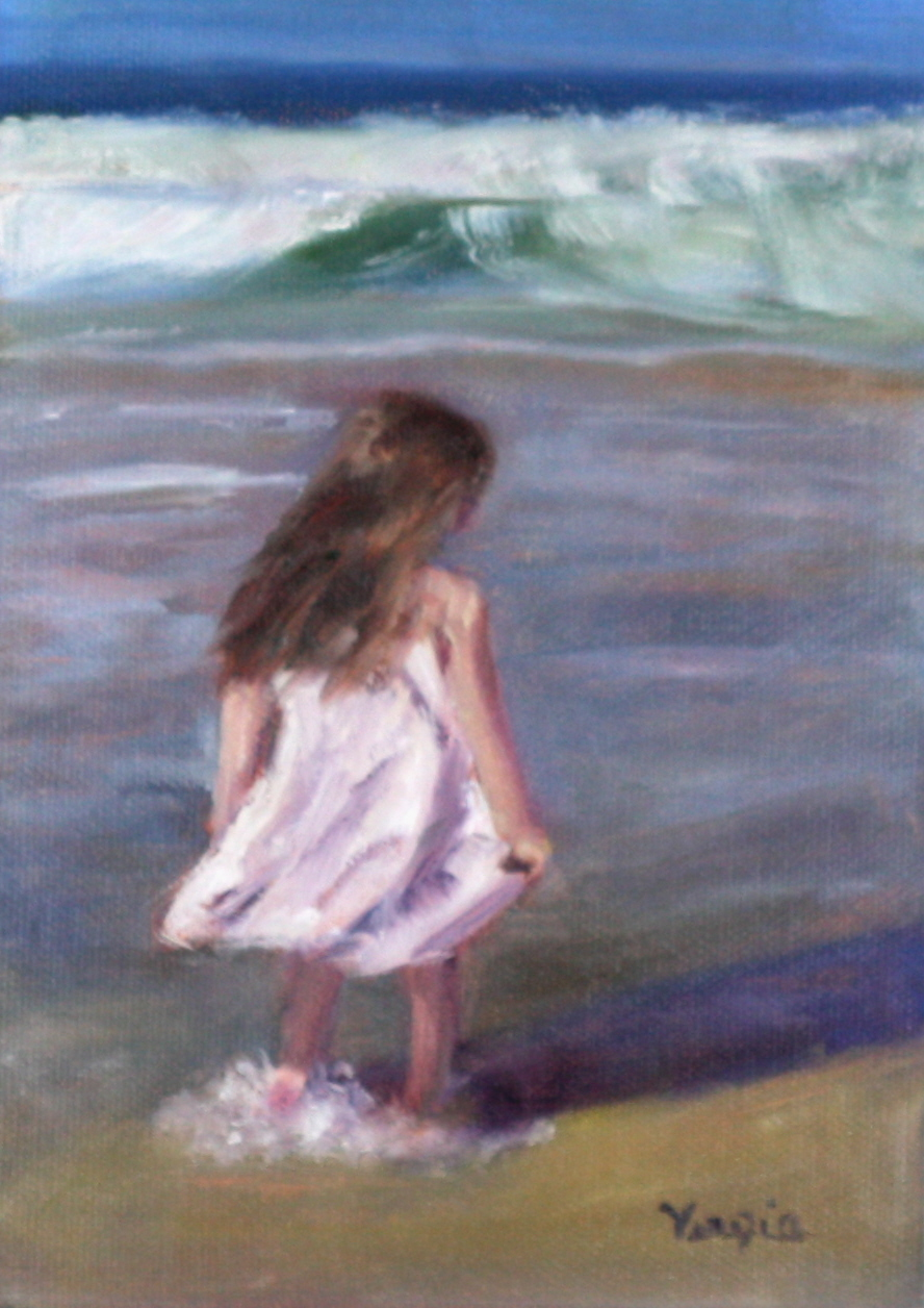 venezia art studio oil painting of young girl in white dress at the