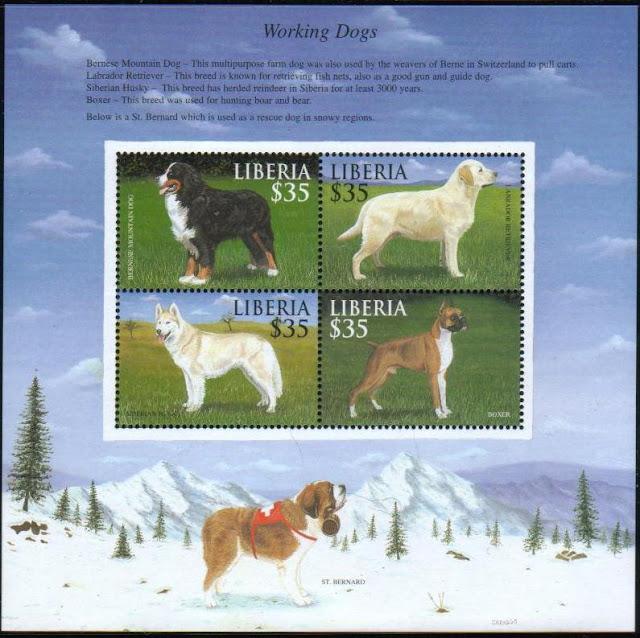 年度不明リベリア共和国 働く犬 バーニーズ・マウンテンドッグ ラブラドール・レトリーバー シベリアン・ハスキー ボクサーの切手シート