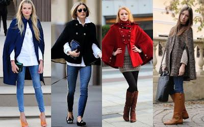 С чем носить кейп: джинсы, сапоги