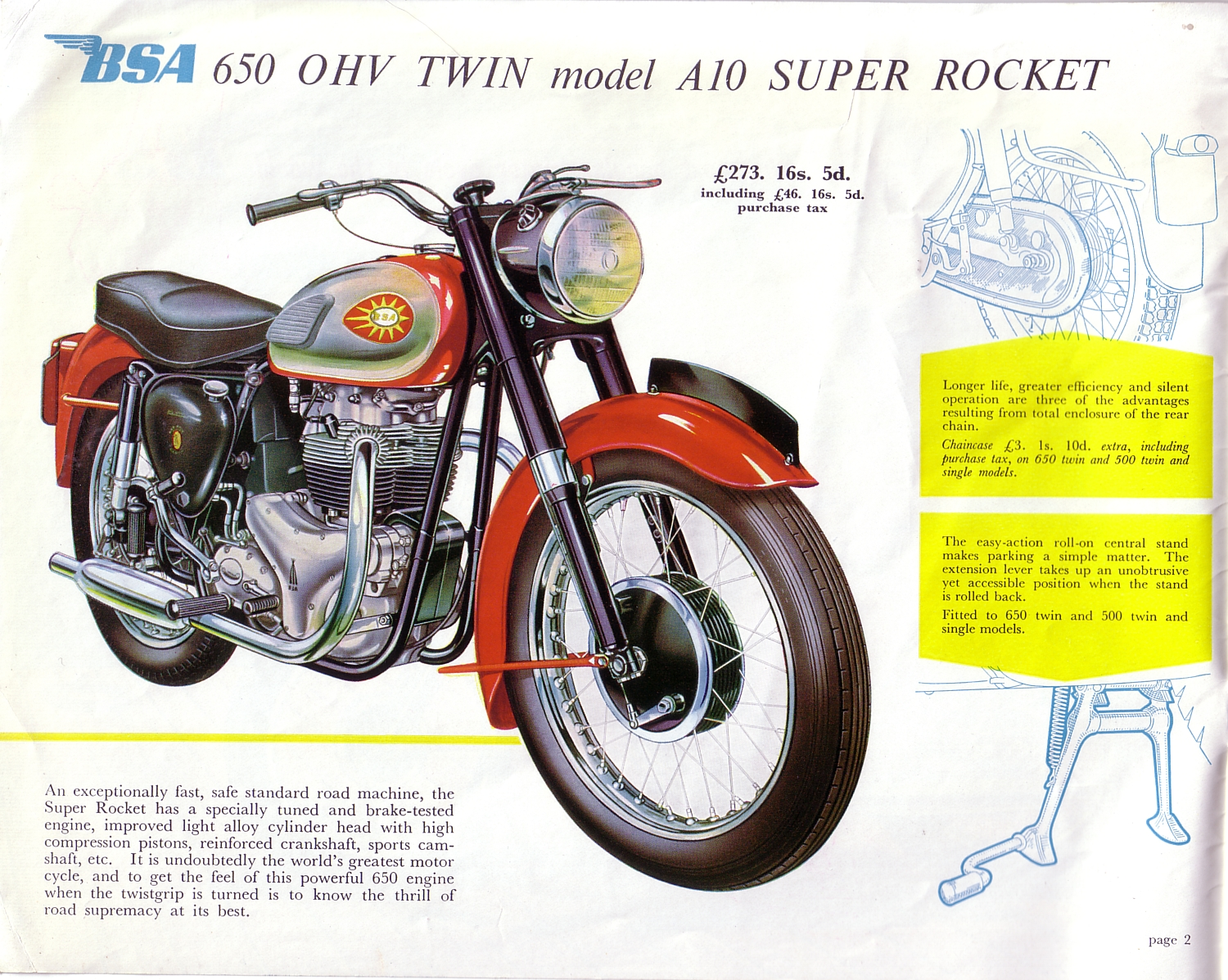 1960 BSA Motorcycles Brochure Page 2