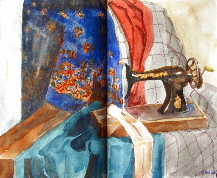 Watercolor sketchbook still life fabrics and sewing machine