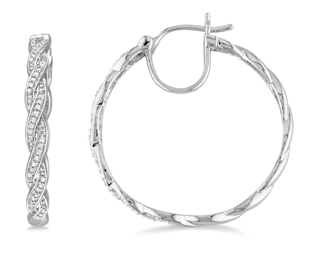 Silver Diamond Braided Hoop Earrings