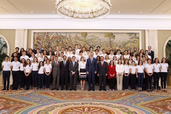 King Felipe And Queen Letizia Met With Europa Scholarship Pupils In Madrid