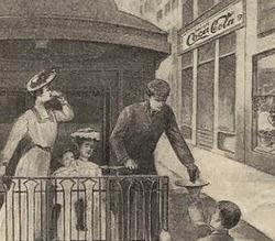 Propaganda antiga da Coca-Cola em 1894 para energia aos viajantes.