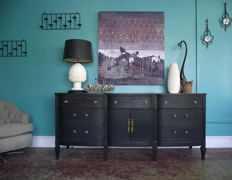 Vintage Ground Vintage Black Distressed Italian Dresser
