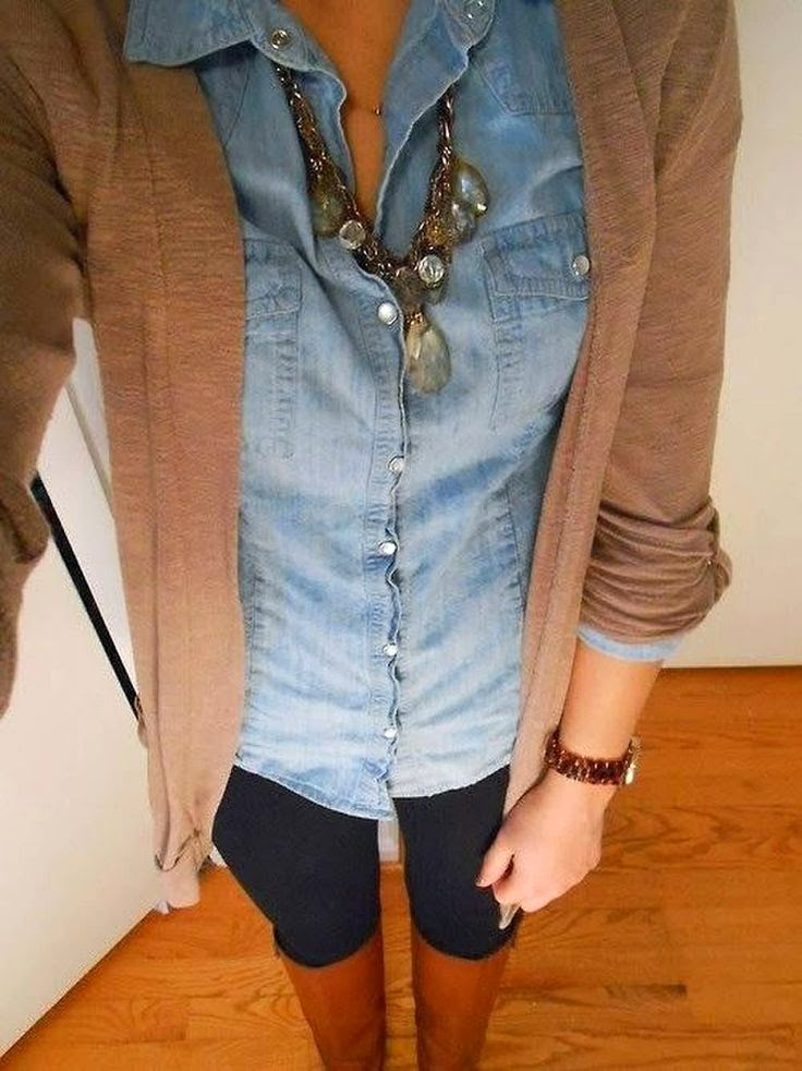 Brown cardigan jean shirt