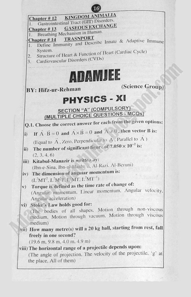 Physics Guess Papers Science Group XI 2013