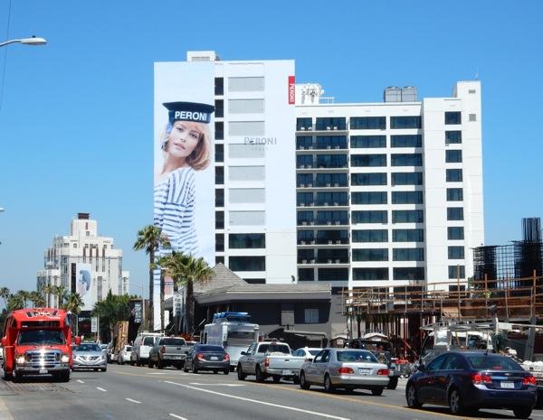 Giant Peroni beer Sailor Girl billboard Sunset Strip
