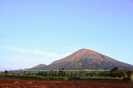 Foto Gunung Sindoro dari tugu batas Kabupaten Temanggung dengan Wonosobo.