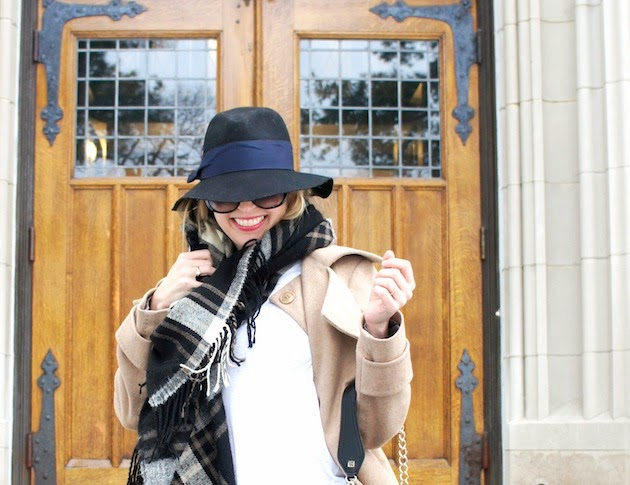 how to wear a fedora, plaid scarf