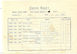 Vintage Honda Honda Custom Group Invoice Super Cub 50 Honda of Chattanooga For Sale C100 C102