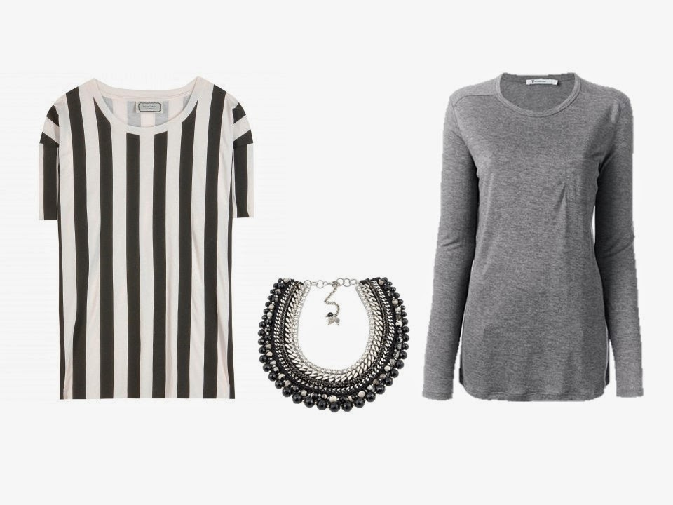 black and white striped tee, black grey silver necklace, and grey tee shirt