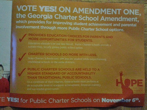 Poster advocating support of charter school legislation in Georgia. (Photo by John S. Quarterman)