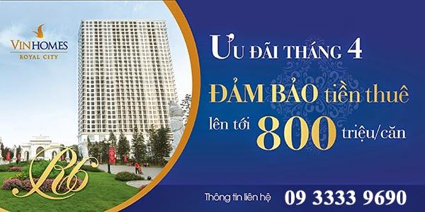 Đảm bảo tiền thuê căn hộ R6 Royal City lên tới 800 triệu/ 2 năm