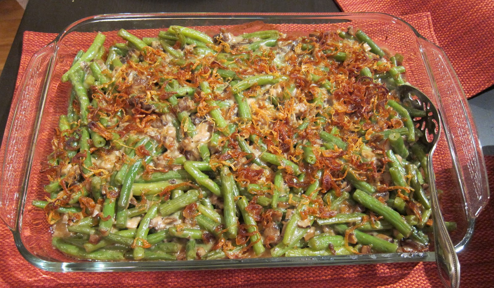 Green Bean Casserole from scratch, topped with fried shallots